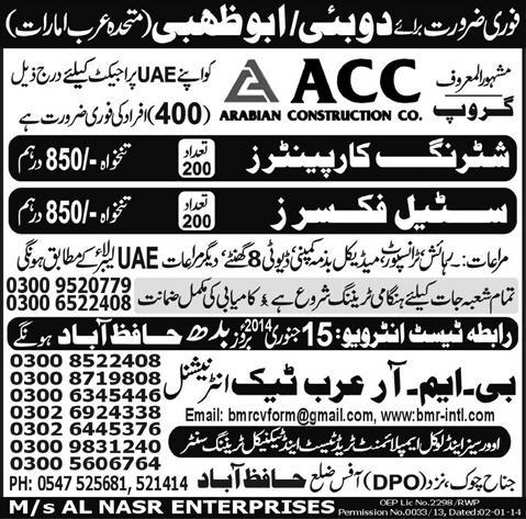 Arabian Construction Company, UAE Jobs 2019 Arabian Construction Co