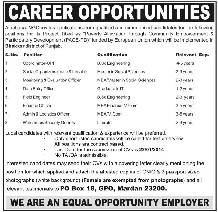 Ngo Requied Project Staff  Others Companies Jobs In Mardan Pakistan