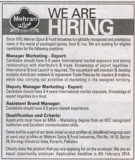 Mehran Spice & Food Industries Jobs 2019 Mehran Spice & Food