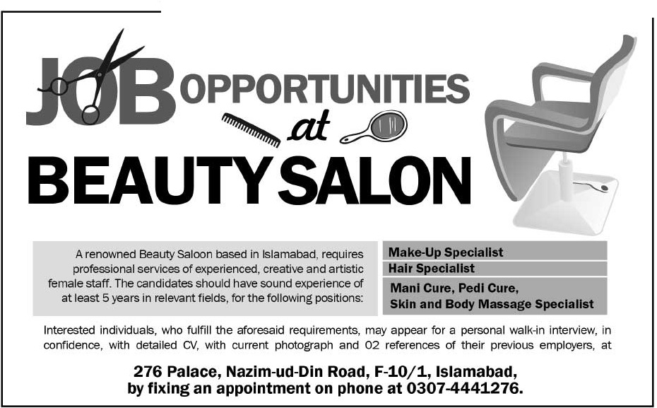 beauty salon islamabad requied staff 2018 others companies jobs in - Beautician Job Description