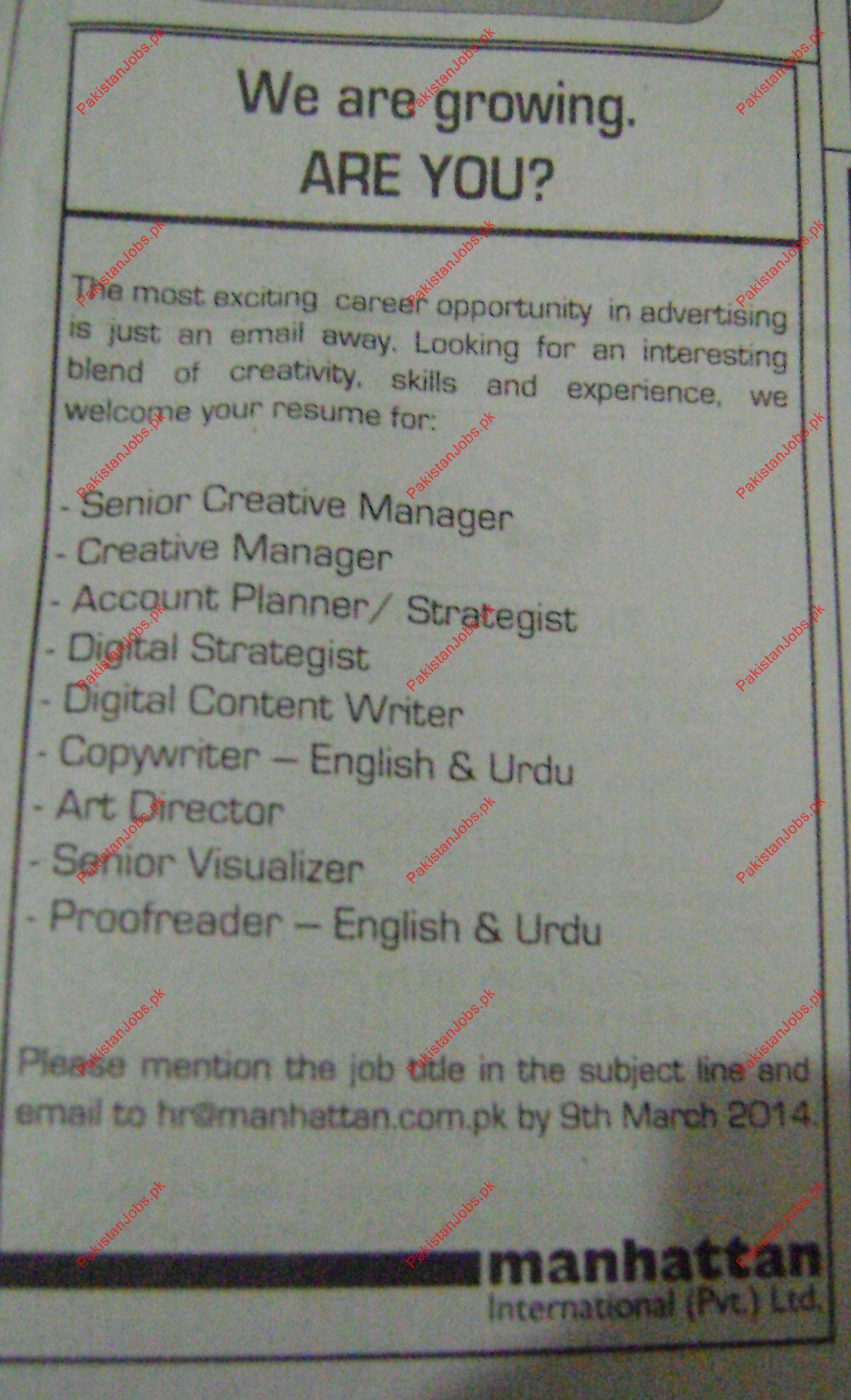 Creativer Manager Account Planner Art Director Copywriter – Copywriter Job Description