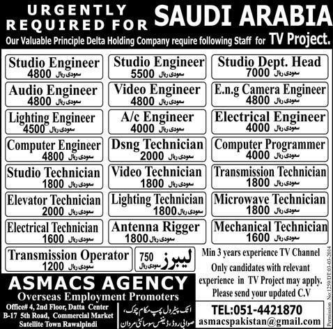 Saudi Arabia TV Project Jobs Delta Holding Company Jobs in – Computer Engineer Job Description