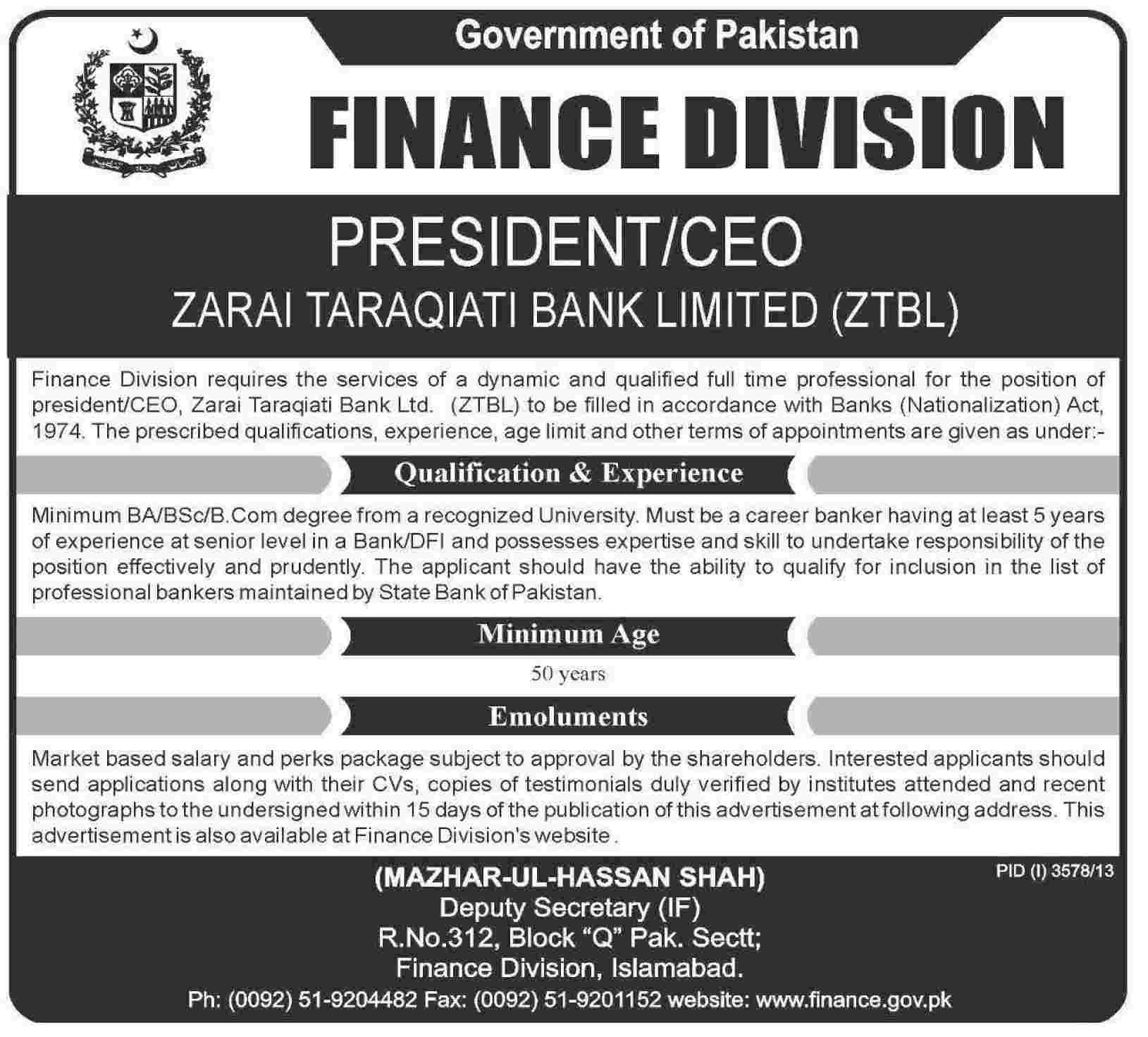 ztbl required president ceo zarai tarakiati bank limited ztbl ztbl required president ceo