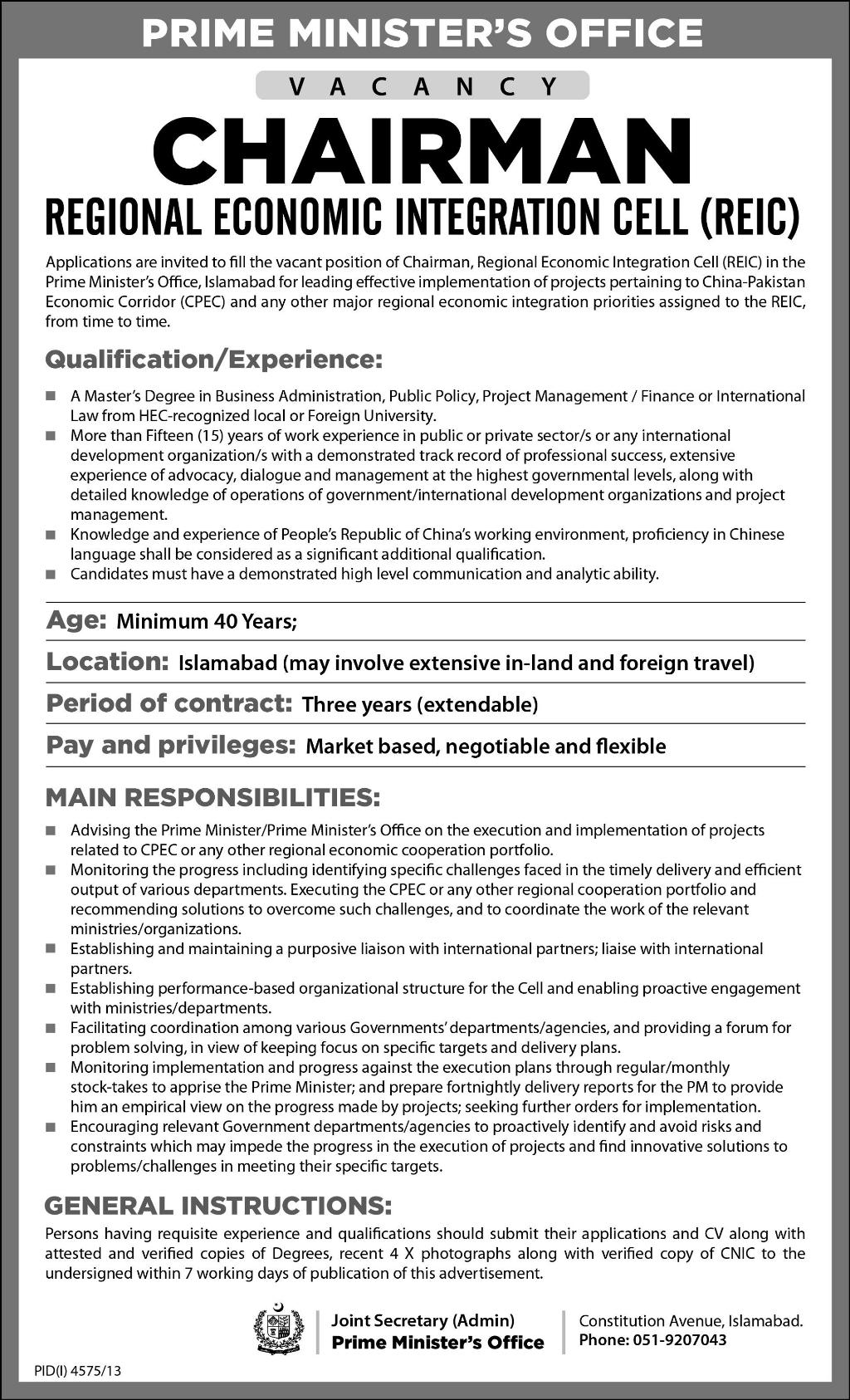 CHAIRMAN Regional Economic Integration Cell (RIEC) Required ...