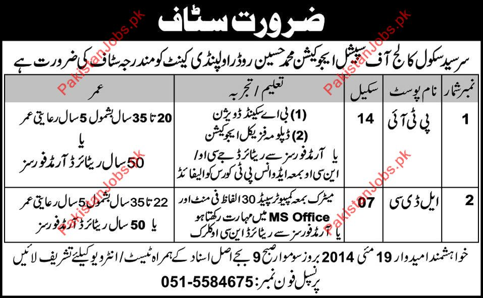 Sir Syed College Required Staff 2019 Sir Syed Model School and