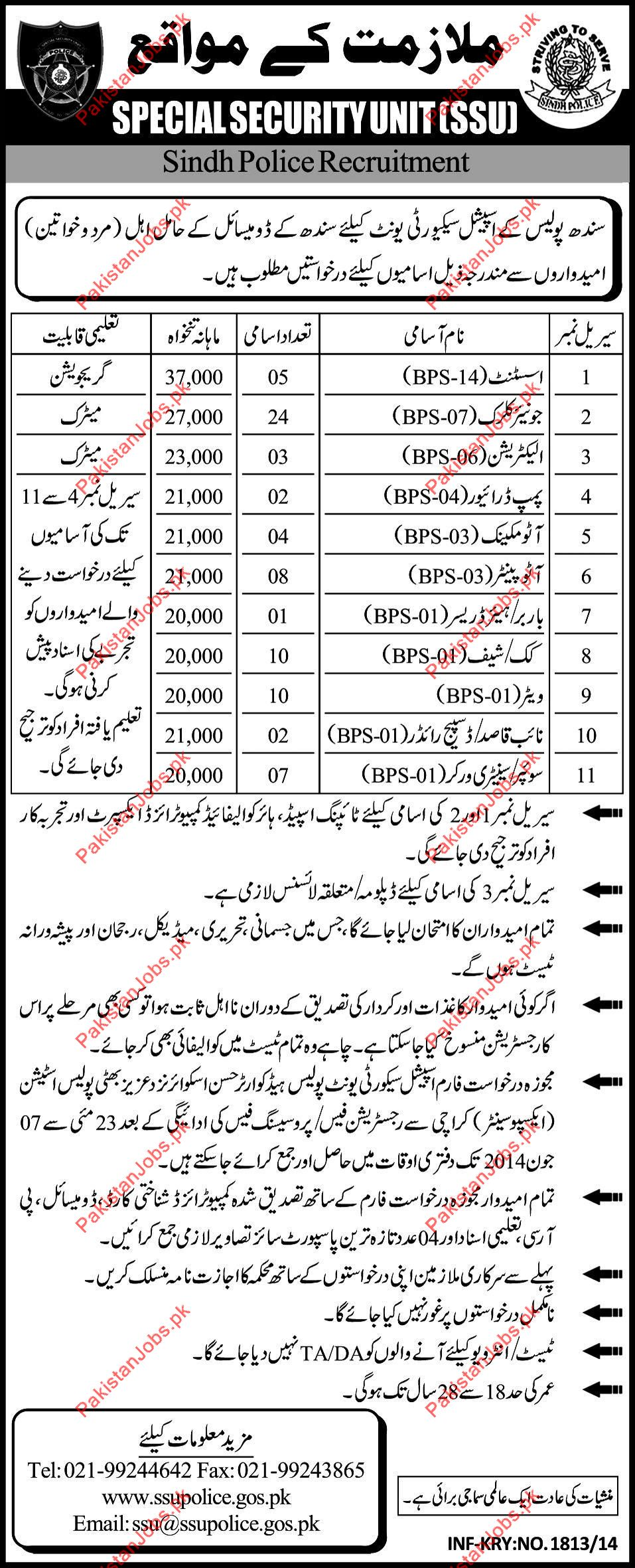 Special Security Unit (SSU) Required Staff 2019 Speical Security