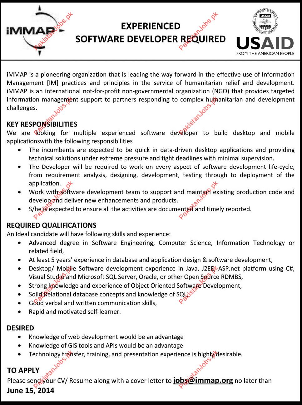 Software Developer Required - USAID Jobs in Islamabad Pakistan ...