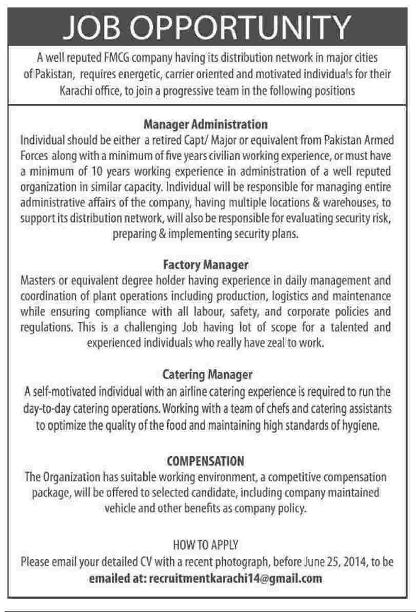 Manager Administration, Factory Manager, Catering Manager - Others ...