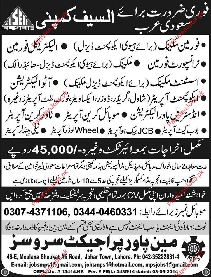 technical staff required for ksa 2019 al saif company