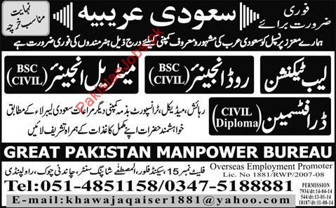 Lab Technician, Road Engineer, Civil Engineer Wanted 2018 Great ...