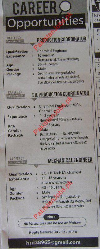 Production Coordinator, Senior Production Coordinator, Mechanical ...