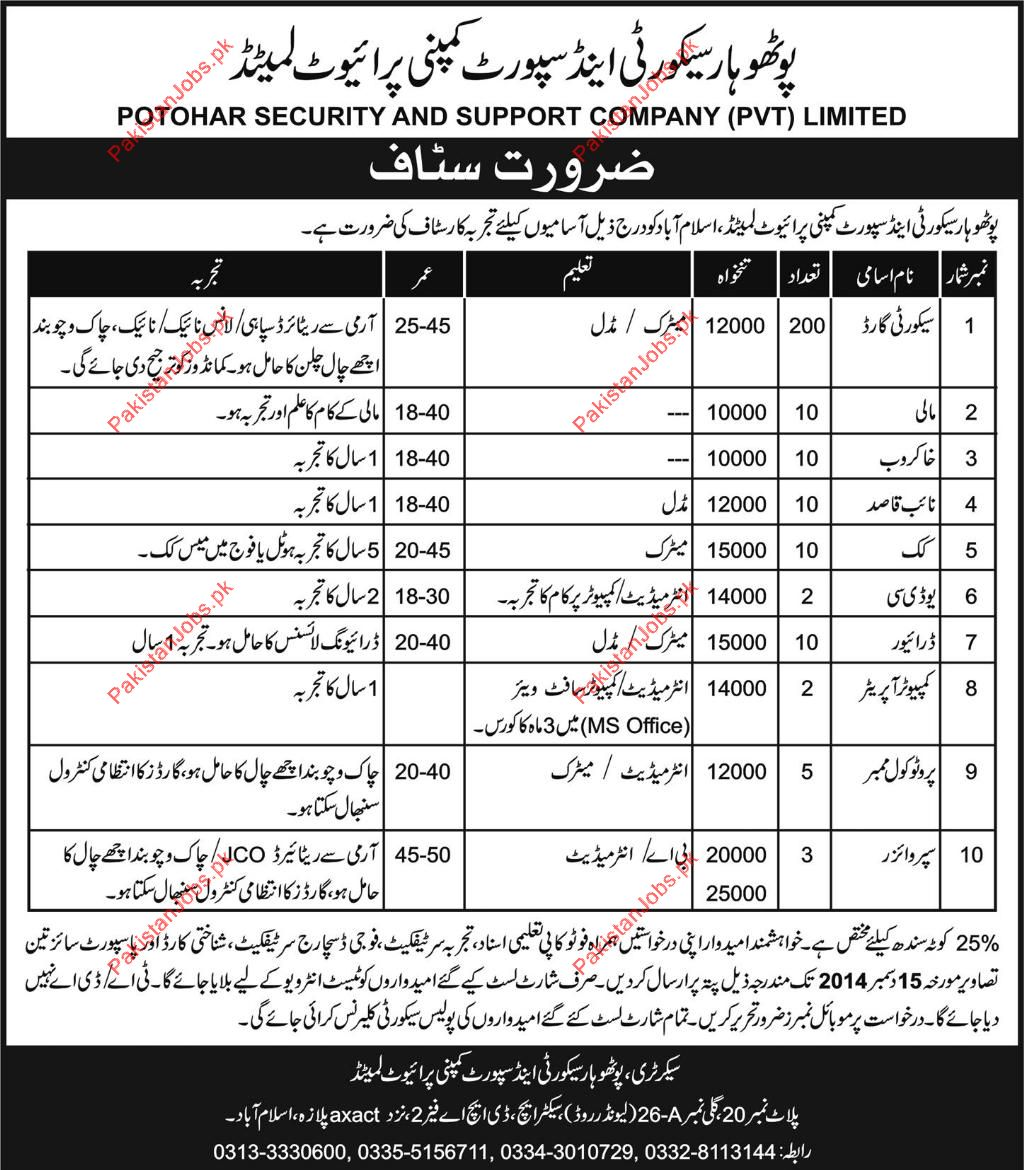 security guard gardner naib qasid udc drivers supervisors potohar security and support company pvt limited islamabad is looking for experienced and field professional staff for the posts of security guard
