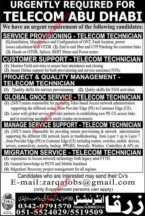 Telecom Technician Required For Abu Dhabi 2018 Zarqa International ...
