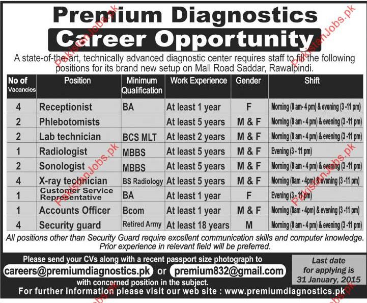 Receptionist Phlebotomists Lab Technician Radiologist Sonologist