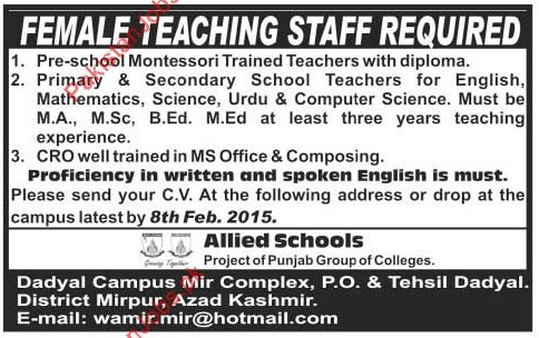 Female Teaching Staff Required 2019 Allied Schools Jobs in