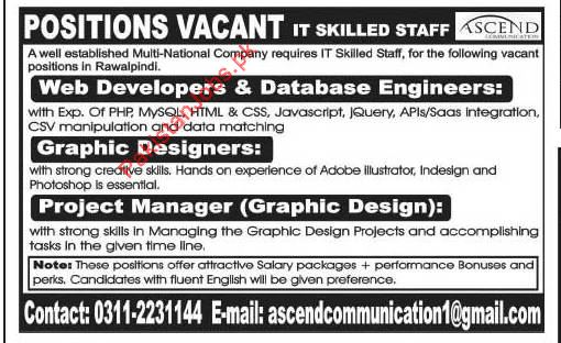 company requires it skilled staff for the positions of web developers database engineers graphic designers project manager in rawalpindi - Database Engineers
