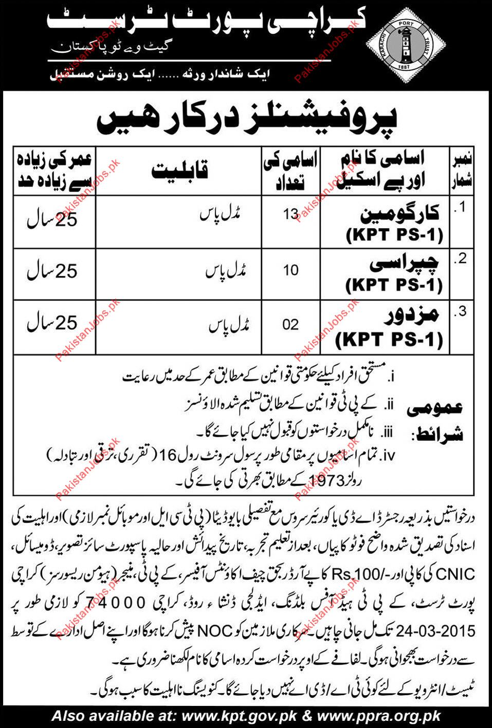 Wanted Cargoman, Peon & Labor For Karachi Port Trust 2019 Karachi