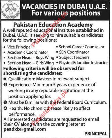 Wanted Vice Principal, Counsellor, Academic Coordinator, Subject ...