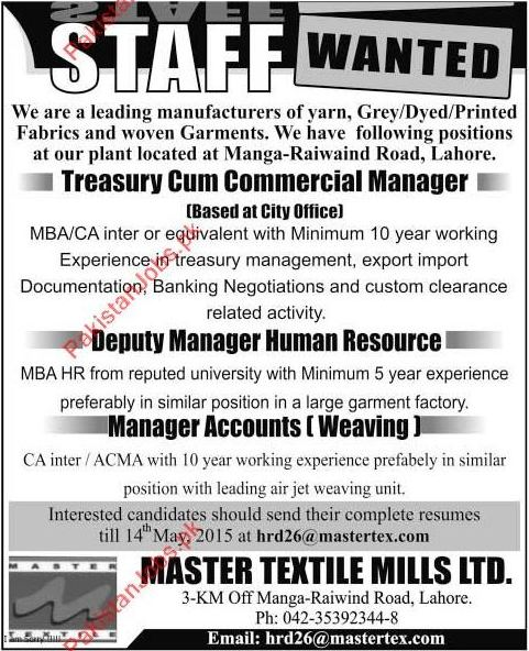 Manager Accounts Deputy Manager Treasury Cum Commercial Manager