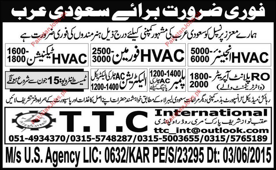 HVAC Engineer HVAC Foreman HVAC Technician RO Plant Operator – Hvac Engineer Jobs