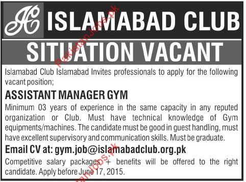 Islamabad Club Wanted Assistant Manager GYM 2018 Islamabad Club Jobs ...