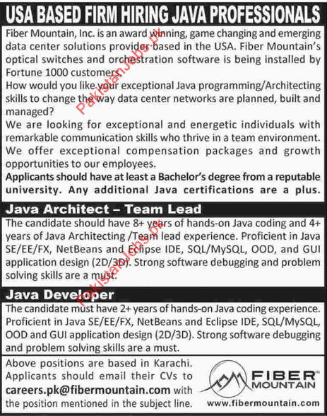 Java Architect Java Developer Required For Karachi Fiber – Java Architect Job Description