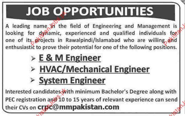 System Engineer, HVAC/Mechanical Engineer, E&M Engineer Required ...
