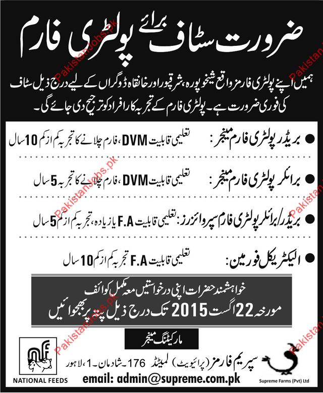 Poultry Farm Managers, Poultry Farm Supervisor & Electrical Foreman ...