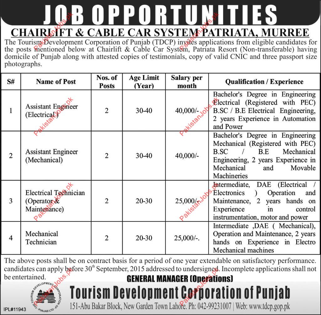 assistant engineers mechanical technician electrical technician applications from technical and hard working persons for the posts of assistant engineers mechanical technician electrical technician in murree