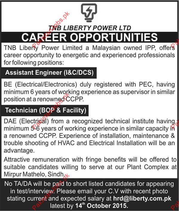 Need Assistant Engineer  Technician For Mirpur Mathelo  Tnb