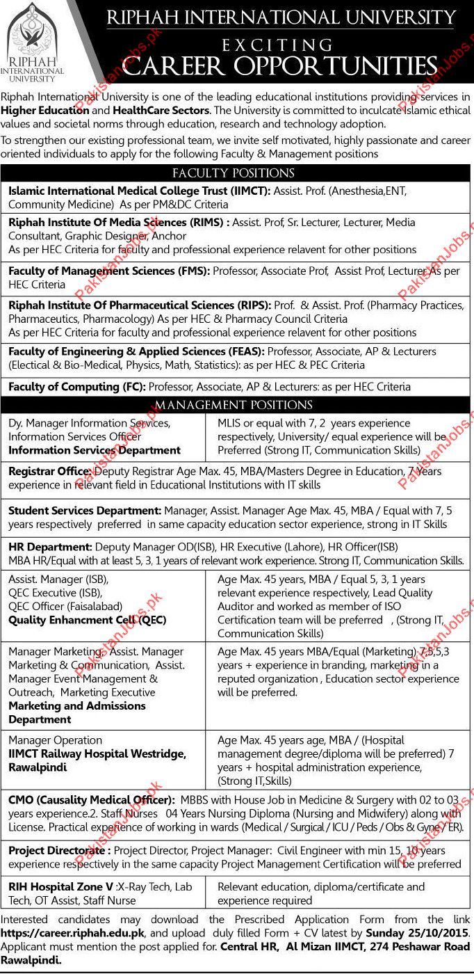 Riphah International University Faculty Required In Peshawar