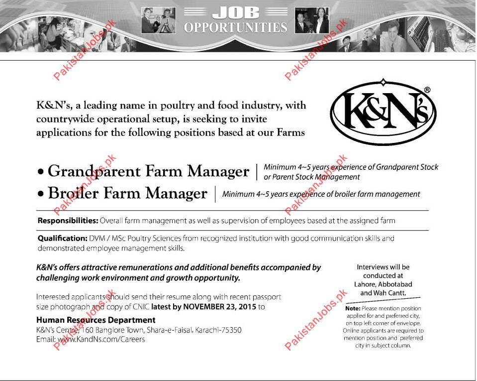 Grandparent Farm Manager & Broiler Farm Manager Required 2018 K&Ns ...