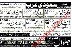 Executive Manager Branch Interior Designers Salesman Plastic Factory Worker Required For A Well Established Shopping Mall In Saudi Arabia