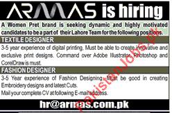 Need Textile Designer Fashion Designer For Lahore 2020 Armas Clothing Store Jobs In Lahore Pakistan