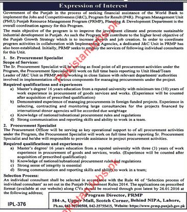 in the process of seeking financial assistance of the world bank required staff for the posts of sr procurement specialist and procurement specialist