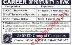 HVAC Supervisor, HVAC Technician/Operator & HVAC Trainee