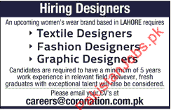 Textile Designers Fashion Designers Graphic Designers Required In Lahore 2020 Fashion House Jobs In Lahore Pakistan