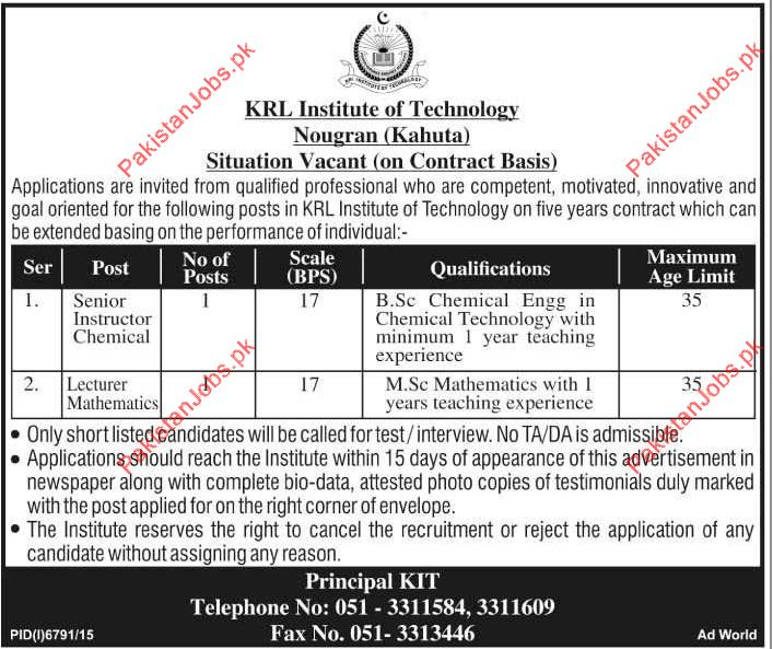 Senior Instructor Chemical & Lecturer Mathematics Required