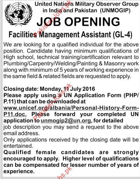 Facilities Management Assistant Required Urgently For Islamabad 2018 ...