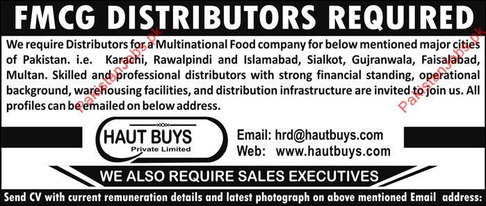 FMCG Distributors Wanted For Karachi, Rawalpindi, Islamabad, Sialkot