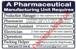 Production Manager, Pharmacist, Assistant, Electrician, Operators