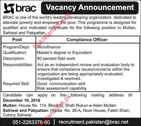 Compliance officers urgently wanted for multan sahiwal pakpattan 2018 brac pakistan jobs in - Compliance officer position description ...