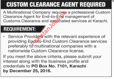 Custom Clearance Agent Urgently Required In Karachi 2019