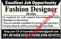 Fashion Designer Urgently Wanted In Rawalpindi 2020 Boutique Jobs In Islamabad Pakistan