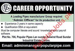 Admin Officer Urgently Required In Lahore 2019 Popular Pipes