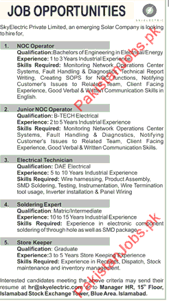 Astonishing Noc Operators Electrical Technician Store Keeper Jobs In Islamabad Wiring 101 Photwellnesstrialsorg