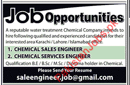 Chemical Sales Engineer & Chemical Services Engineer Wanted For