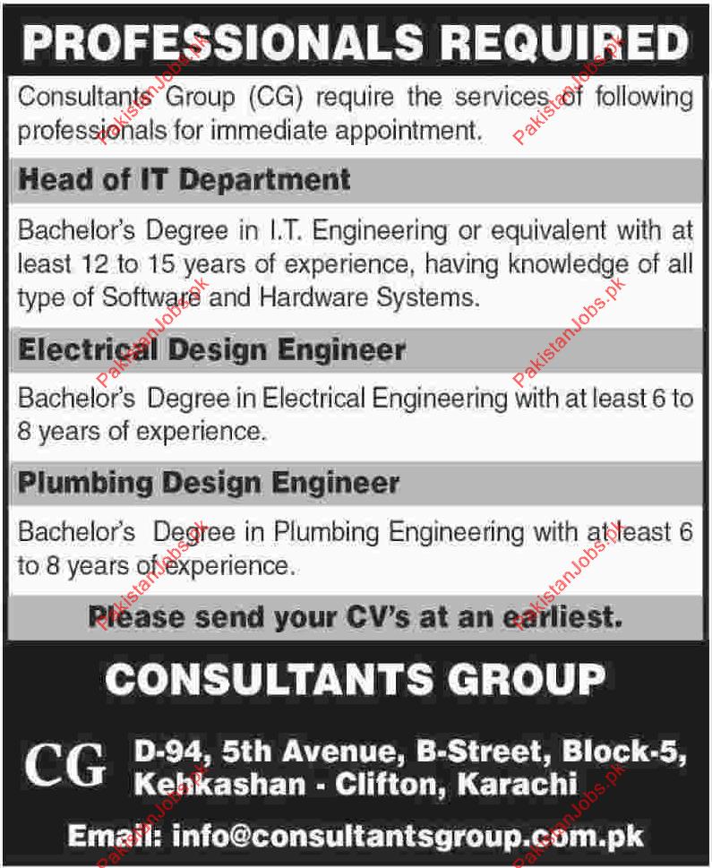 Head electrical design engineer plumbing design for Design consultant jobs