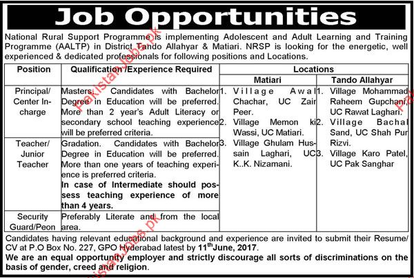 NRSP Required Principal/Center Incharge, Teachers & Security