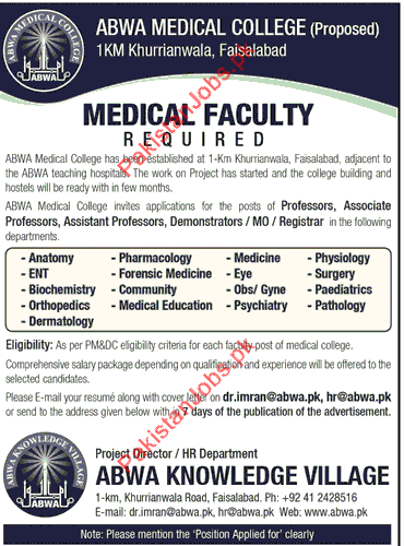 Medical Faculty Required In Faisalabad, Punjab 2018 ABWA Medical ...